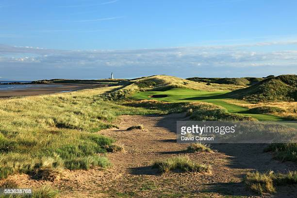 A view of the redesigned 194 yards par 3 fourth hole of the Ailsa Course at the Trump Turnberry Resort on July 19 2016 in Turnberry Scotland