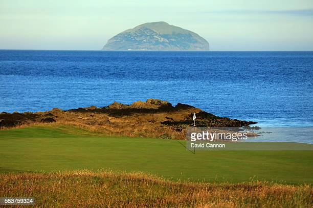 A view of the redesigned green on the new 248 yards par 3 ninth hole of the Ailsa Course with the island of Ailsa Craig behind at the Trump Turnberry...