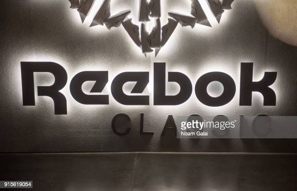 A view of the Reebok Classic logo during Reebok's 'Breaking Classic' at Classic Car Club on February 7 2018 in New York City