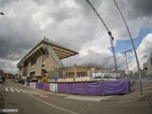 View of the reforms of the El Sadar Stadium of Osasuna football club during the state of alarm caused by the Covid19 pandemic on April 27 2020 in...