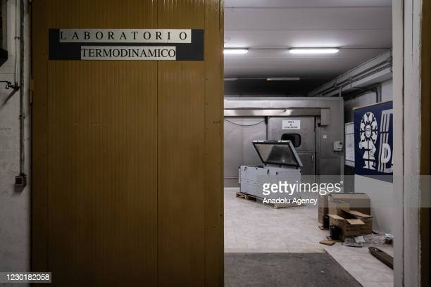 View of the refrigerated transport system for the Covid-19 vaccine inside the company's industrial shed in Nusco in Avellino, southern Italy, on...