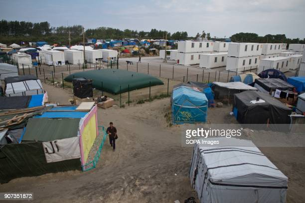 A view of the refugee camp in Calais including the governmentbuilt area months before it was demolished The Calais Jungle was a illegal settlement of...