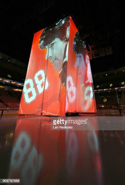 A view of the rehearsal for the retirement number ceremony of NHL Hall of Famer and former Philadelphia Flyers Eric Lindros prior to a game against...