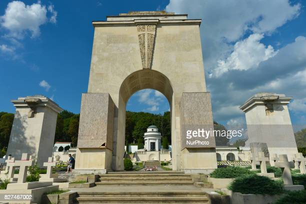 A view of the remaining parts of the Main Monument of Glory in the Defenders of Lwow Cemetery Two stone lions once an integral part of the colonnade...