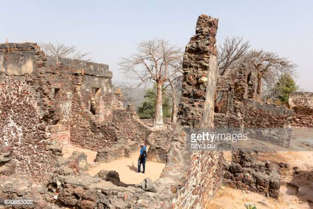 A view of the remains of a building on Kunta Kinteh island formerly known as James Island an island in the Gambia River 30 km from the river mouth...