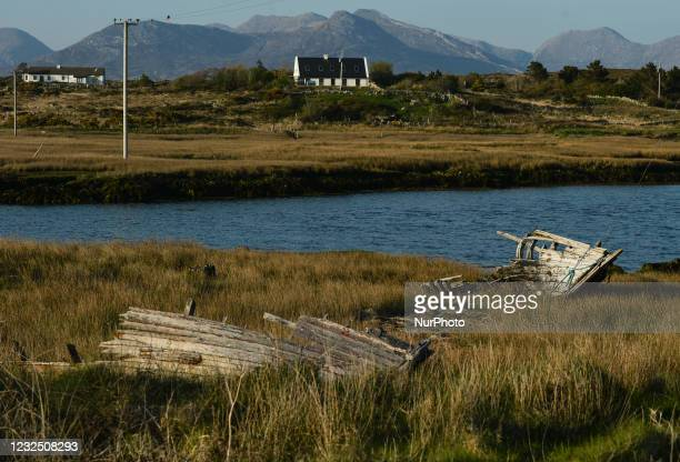 View of the remains of a wooden boat on Inishnee Island. On Saturday, 24 April 2021, in Roundstone, Connemara, County Galway, Ireland.