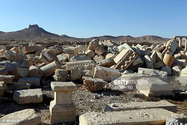 View of the remains of Baalshmin temple, which was destroyed by jihadists of the Islamic State group in 2015, in the Syrian ancient city of Palmyra...