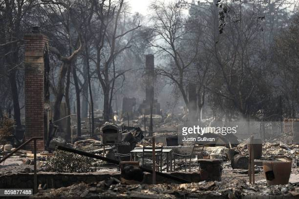 A view of the remains of multiple homes that were destroyed by the Nuns Fire on October 10 2017 in Glen Ellen California Fifteen people have died in...