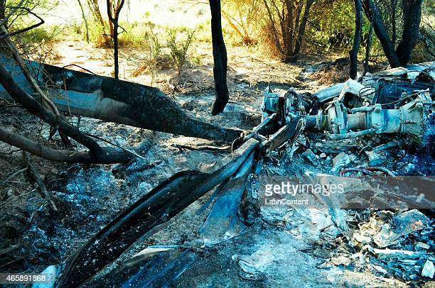 View of the remains of one of the helicopters that crashed while filming 'Dropped' a reality TV show in the Argentinian province of La Rioja while...