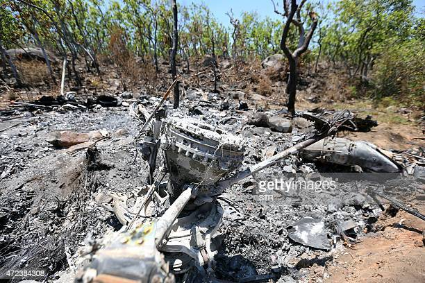 View of the remains of the Mexican military helicopter Cougar EC725 in Villa Vieja community Villa Purificacion Jalisco State on May 06 2015 A total...