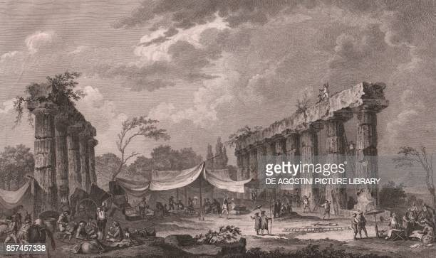 View of the remains of the Temple of Hera Metaponto near Bernalda Basilicata Italy etching ca 38x25 cm from Voyage pittoresque a Naples et en Sicile...