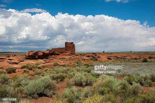 View of the remains of the Wukoki Pueblo in the Wupatki National Monument Park in northern Arizona, USA, where the Northern Sinagua people lived.