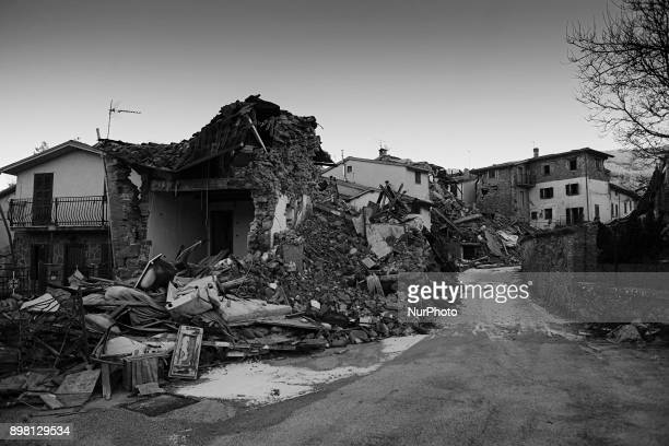 View of the remnants of a house in the municipality of Accumoli, Italy, on 24 December 2017. The region has been hit by several earthquakes since 24...
