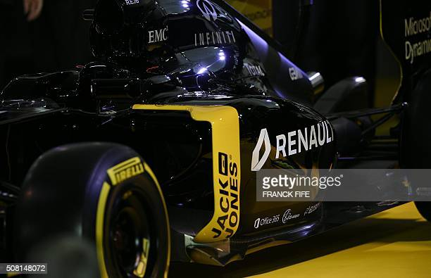View of the Renault's RS16 the first F1 car of the French firm in six years taken during a press conference at Renault's technocentre in Guyancourt...