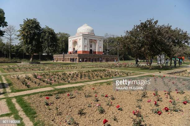 A view of the renovated Lakkarwala Burj tomb in Sunder Nursery a 16thcentury heritage garden complex adjacent to Indian UNESCO site Humayun's Tomb in...