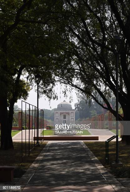 A view of the renovated Sunderwala Burj tomb in Sunder Nursery a 16thcentury heritage garden complex adjacent to Indian UNESCO site Humayun's Tomb in...