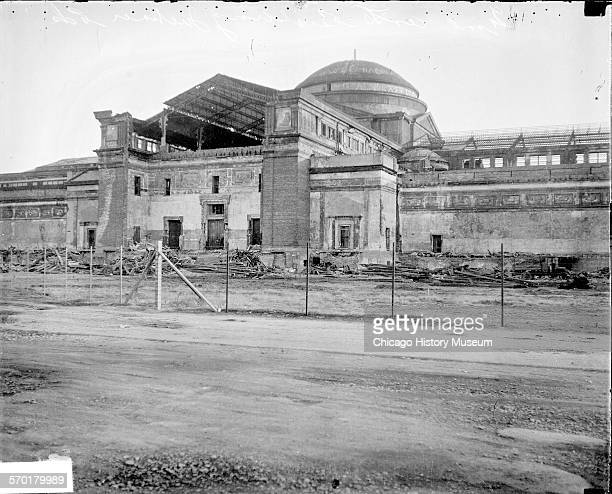 View of the repairs to the building that served as the Fine Arts Building of the World's Columbian Exposition of 1893 the Field Museum and then the...