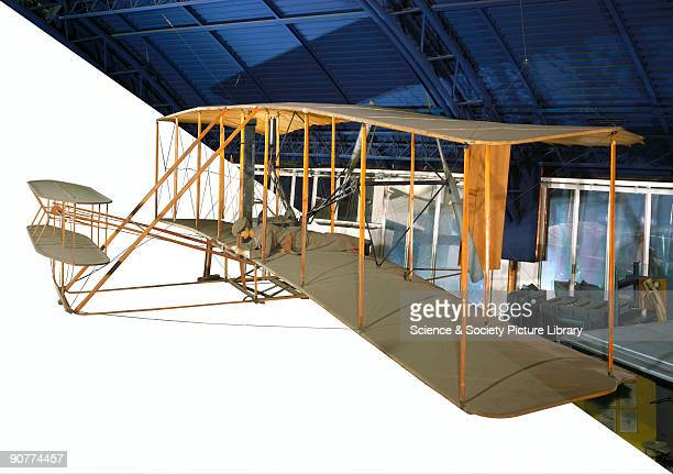 View of the replica of the first Wright Brothers' aeroplane Orville Wright and his brother Wilbur were selftaught American aeroplane pioneers They...