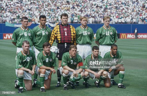 View of the Republic of Ireland national football team squad posed together prior to the 1994 FIFA World Cup group E match between Italy and Republic...