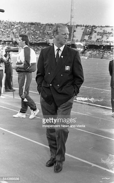 View of the Republic of Ireland's soccer team manager Jack Charlton during a World Cup Italia '90 match against England in Stadio Sant'Elia Cagliari...