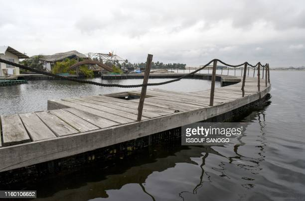 View of the resort on an artificial island made with around 700 000 recycled plastic waste collected in the surrounding area, on the Ebrie Lagoon in...
