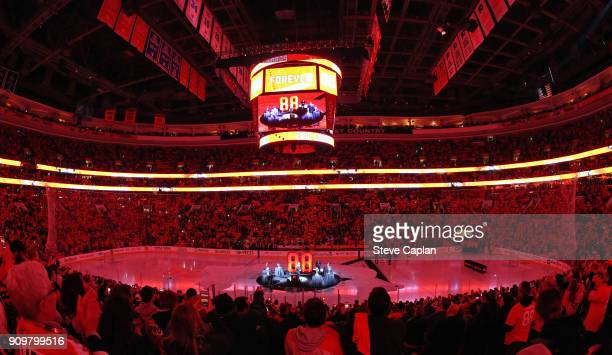 A view of the retirement number ceremony of NHL Hall of Famer and former Philadelphia Flyers Eric Lindros prior to a game against the Toronto Maple...