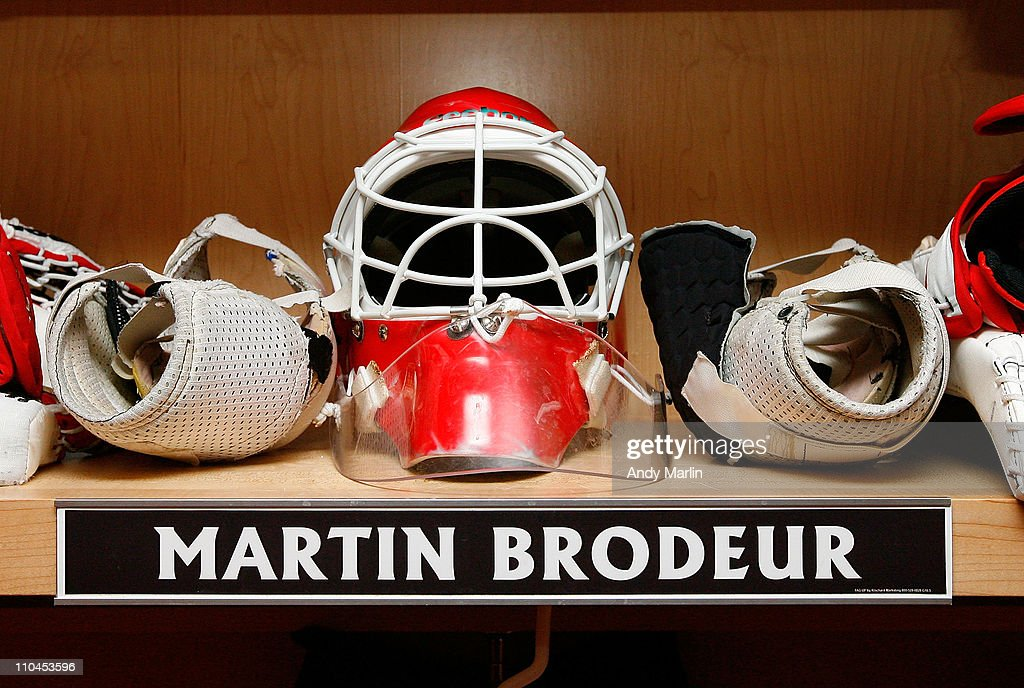 A View Of The Retro Mask Goaltender Martin Brodeur Of New Jersey