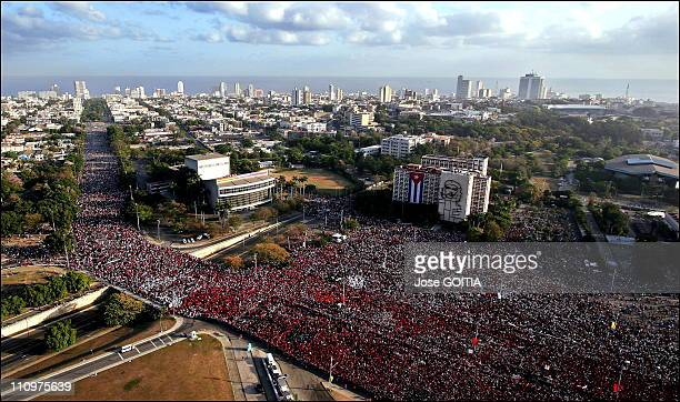 A view of the Revolution Square as Cuban President delivers a speech during the May Day celebration at the Revolution Square in Havana Cuba on May...