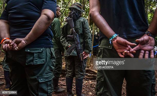 TOPSHOT View of the Revolutionary Armed Forces of Colombia camp during the 10th National Guerrilla Conference in Llanos del Yari Caqueta department...