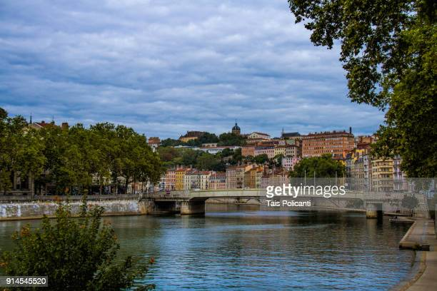 view of the rhône river in lyon, france, europe - rhone stock pictures, royalty-free photos & images