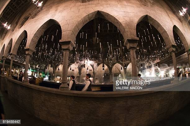 A view of the ride is seen inside Hogwarts during the 'Wizarding World of Harry Potter Opening' press preview at Universal Studios Hollywood in...