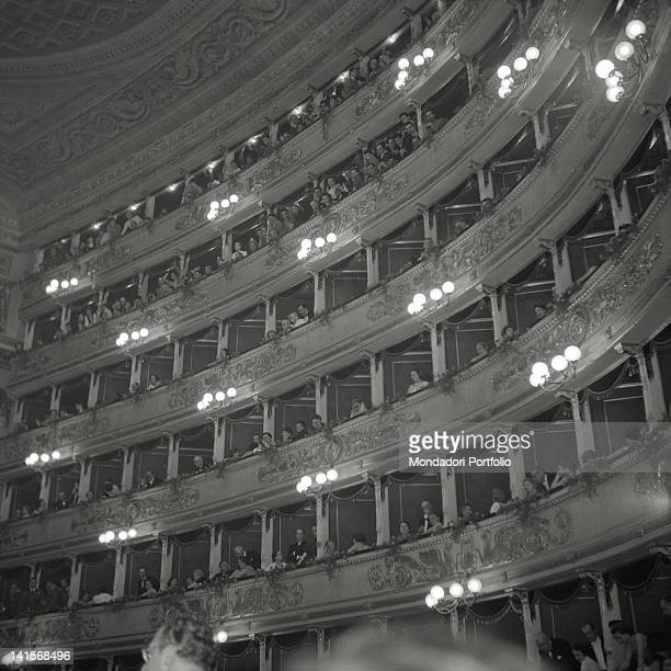 View of the right boxes of the cavea of the Teatro alla Scala in Milan during the season inauguration night the audience among them the President of...