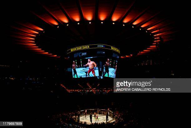 TOPSHOT View of the ring during the Ultimate Fighting Championship at Madison Square Garden in New York City New York on November 2 2019