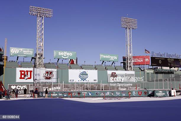 A view of the rink and Green Monster from home plate at Fenway Park before a Frozen Fenway NCAA Men's Division 1 hockey game between the Boston...