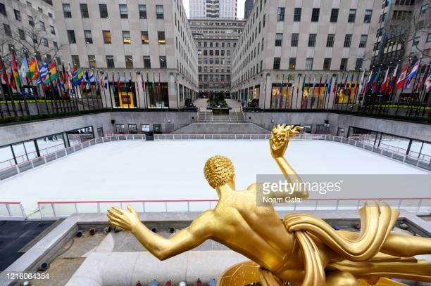 View of The Rink at Rockefeller Center during the Coronavirus pandemic on March 31, 2020 in New York City. President Trump has extended the social...