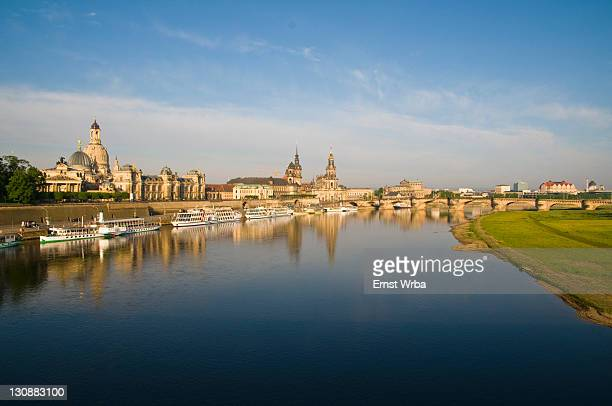 View of the river Elbe on the Old town, Bruehlsche Terrassen terraces, paddle wheel steamer, Dresden, Saxony, Germany
