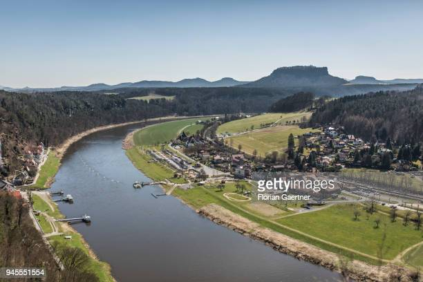 View of the river Elbe the mountain Lilienstein and rocks of the Bastei in Saxon Switzerland on April 07 2018 in Rathen Germany