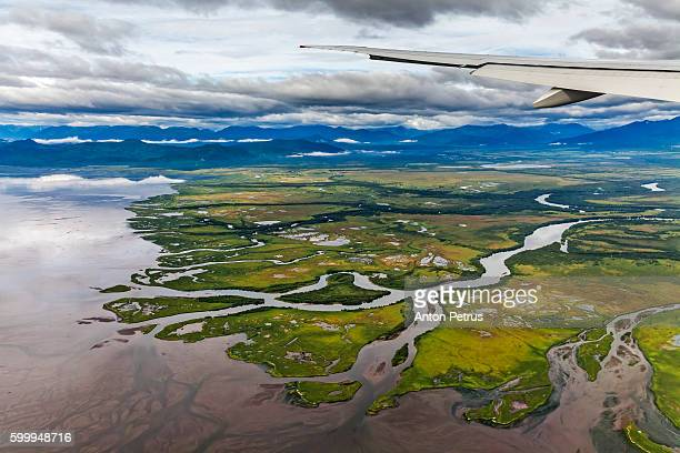 View of the river from plane window