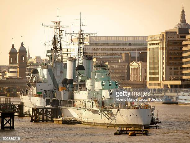 CONTENT] A view of the River Thames close to Tower Bridge at the sunset and the HMS Belfast in it This area is one of the most tourist places all...