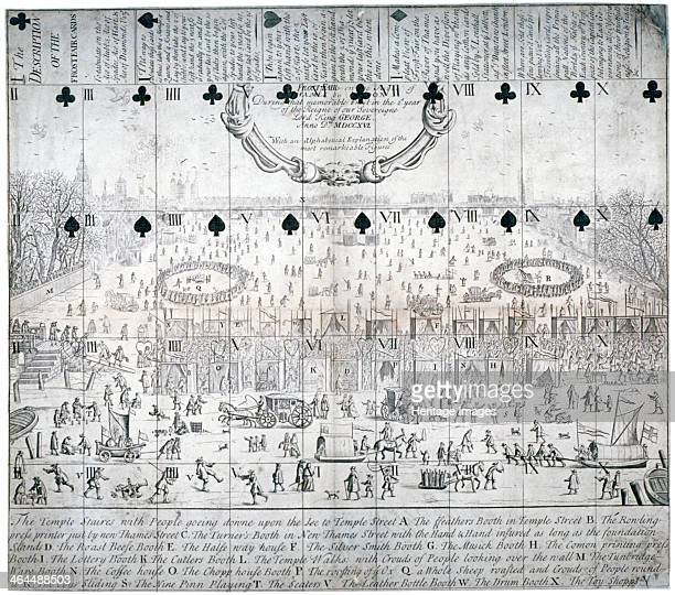 View of the River Thames during the 16831684 frost fair London 1716 Eating drinking and entertainment booths can be seen stretching across the ice...