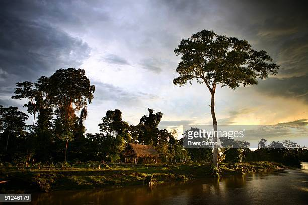 View of the riverside on June 8, 2007 in Iquitos, Peru. This pristine river and massive rainforest is under threat from infrastructure development in...