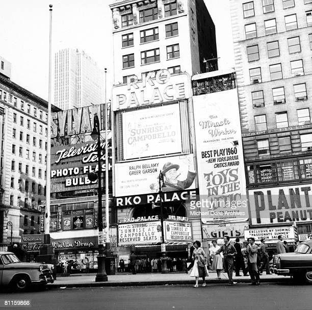 A view of the RKO Palace Theatre on Broadway in October 1960 in New York City New York