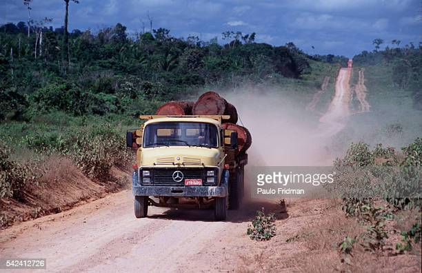 View of the road between Santarem and Cuiaba in the State of Para Brazil Environmentalists are concerned with the building of a 1080 mile highway...