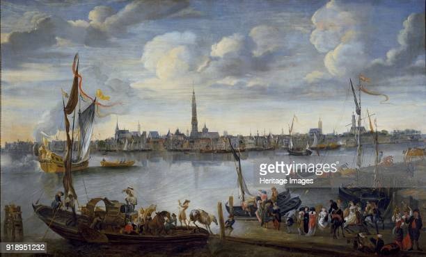 View of the Roads of Antwerp from the West Bank, post 1672. Dimensions: height x width x depth: 121 x 201 cm