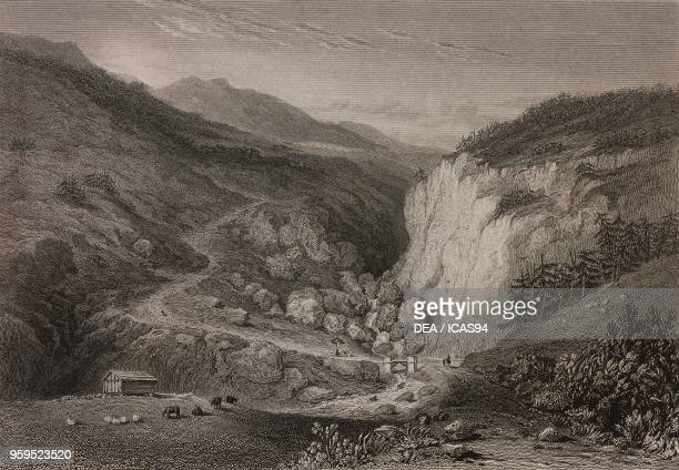 View of the Roche Blanche from the Little Saint Bernard pass road near BourgSaintMaurice France engraving by Edward Finden after a drawing by William...