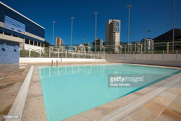 View of the Rocinha Sports Complex facilities at the LagoaBarra driveway in Rocinha shantytown on July 8 2010 in Rio de Janeiro Brazil This 15000...