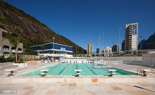 View of the Rocinha Sports Complex olympic pool at the LagoaBarra driveway in Rocinha shantytown on July 8 2010 in Rio de Janeiro Brazil This 15000...