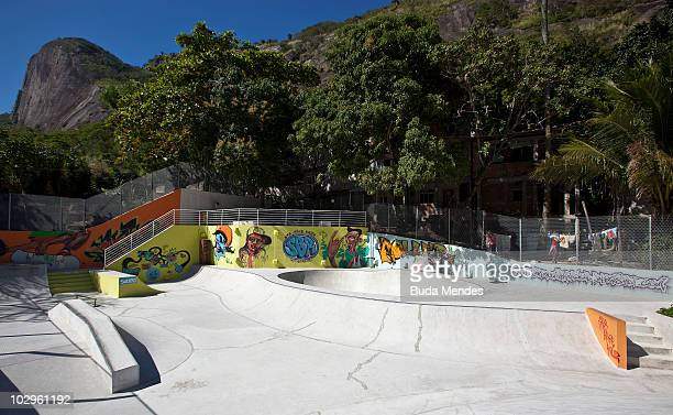 View of the Rocinha Sports Complex skate and radical sports track at the LagoaBarra driveway in Rocinha shantytown on July 8 2010 in Rio de Janeiro...