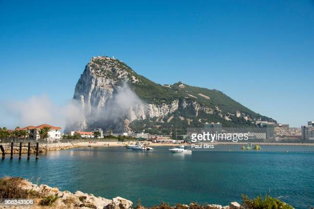 view of the rock of gibraltar and  the mediterranean sea - gibraltar stock pictures, royalty-free photos & images