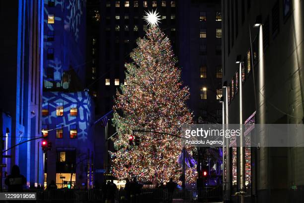 View of the Rockefeller Center Christmas Tree during the 88th Annual Rockefeller Center Christmas Tree Lighting Ceremony at Rockefeller Center in New...